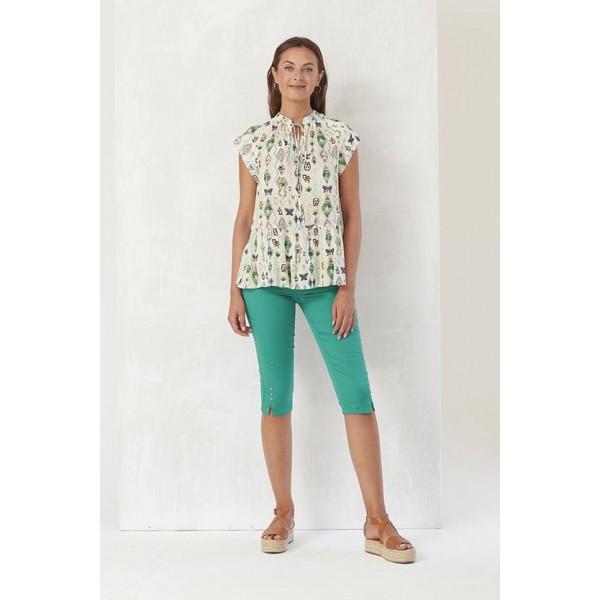 blusa manga corta con lazada cuello