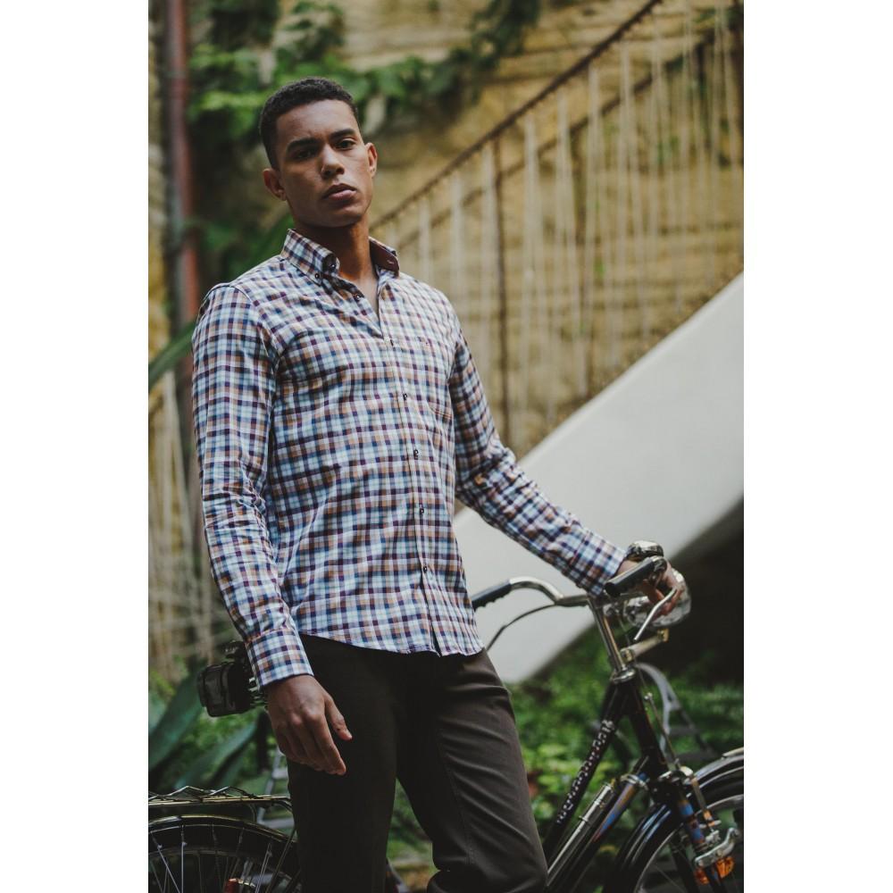 Camisa manga larga Oscar Style cuadros - 1