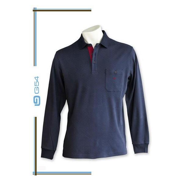 Polo manga larga juvenil de G54, azul, con diminuto dibujo - 1