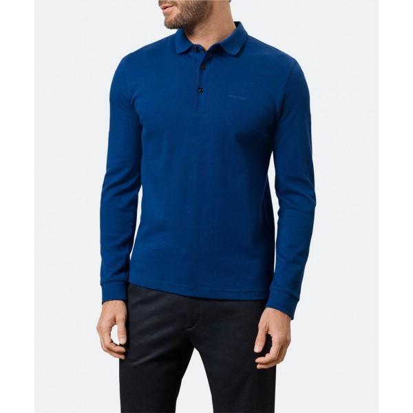 Polo manga larga falso liso, azul, de  Pierre Cardin - 1
