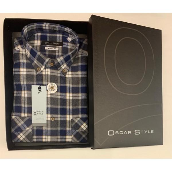 Camisa viella manga larga cuadros gris de Oscar Style - 2