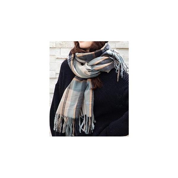 Bufanda a cuadros gris, negro y mostaza, de Azay - 1