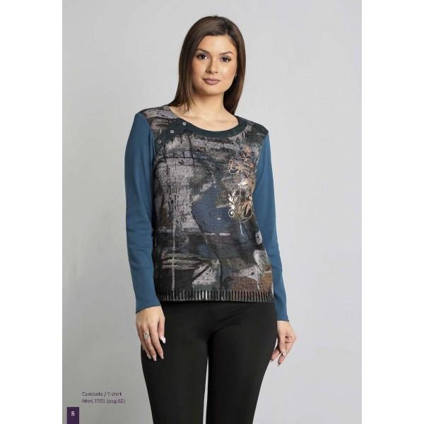 Camiseta estampada algodón señora, color petóleo, de Nayat... - 1
