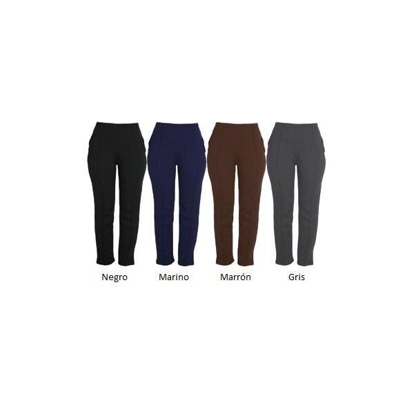 Pantalón senora elástico de Nayat, falso liso, en color azul marino o gris - 1