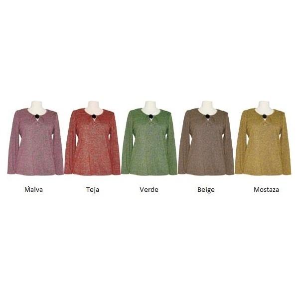 Camiseta señora, pliegues cuello, mostaza, teja o malva jaspeados, de Nayat - 1