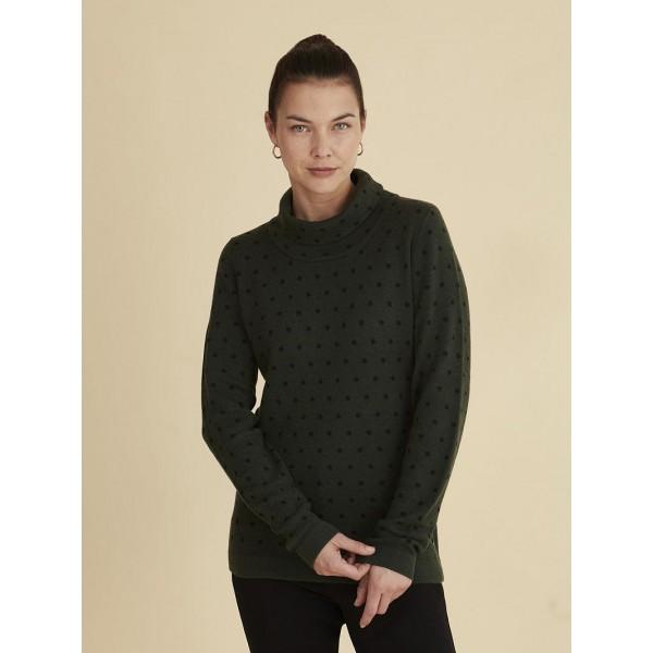 Jersey con cuello semicisne, verde musgo, Azay.  - 1