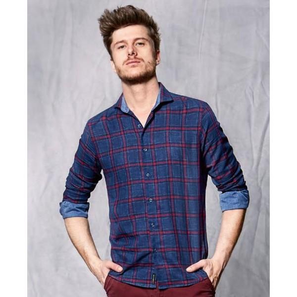 Camisa cuadros, azul, modelo Rock de Fyord - 1